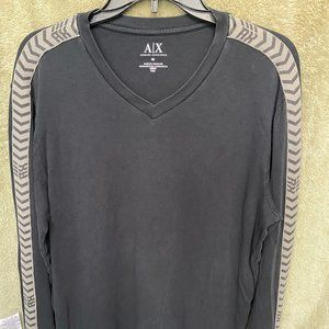 Armani Exchange Men's Black V-Neck Shirt, size M